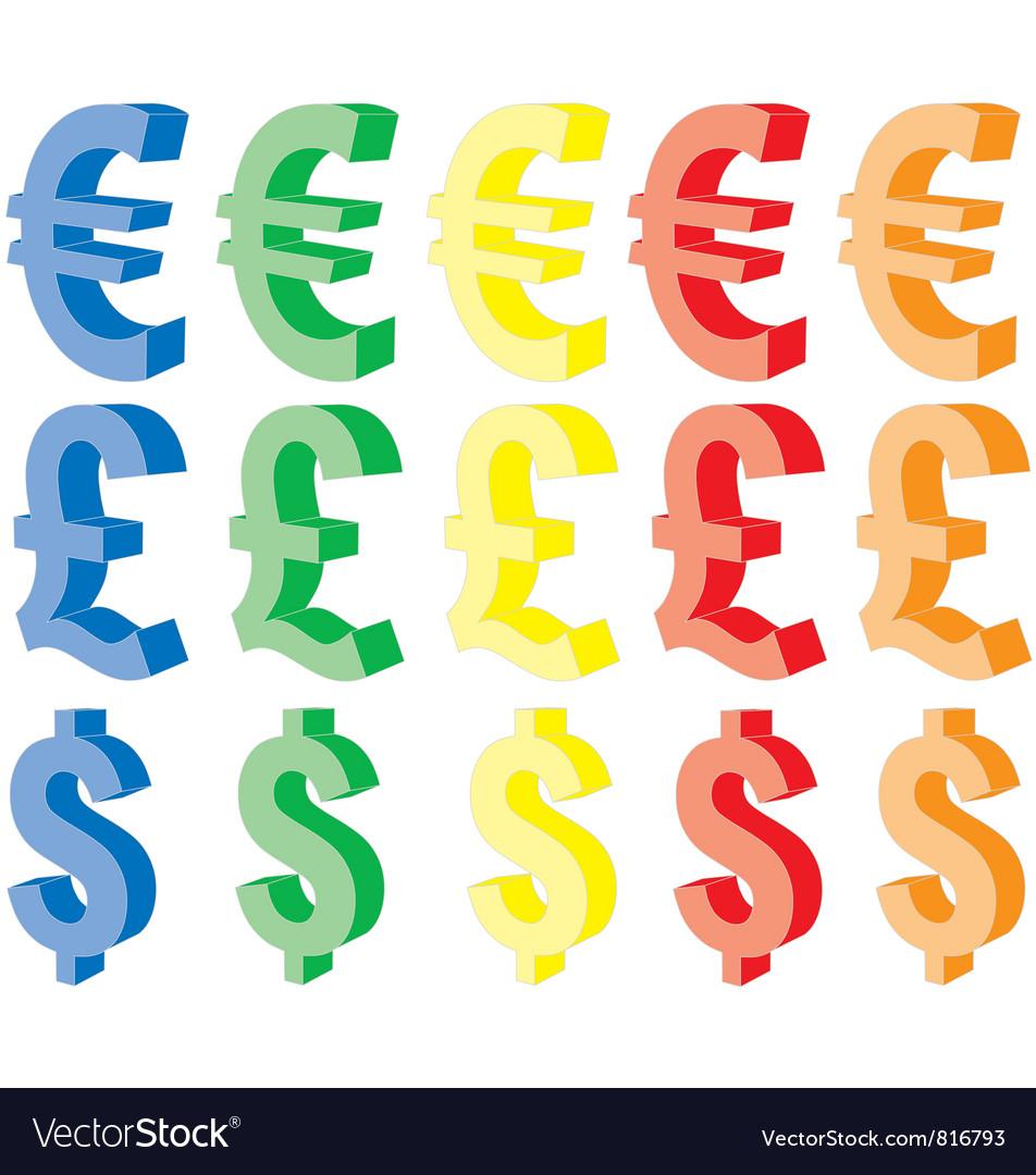 Currency symbols vector | Price: 1 Credit (USD $1)