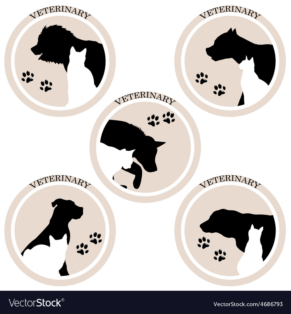 Dog and cat veterinary icons vector | Price: 1 Credit (USD $1)