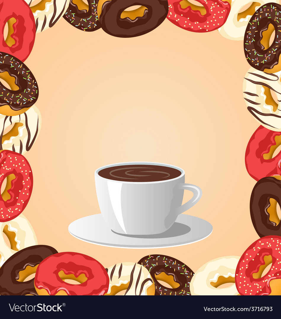 Donuts with cup of coffee on beige vector | Price: 1 Credit (USD $1)