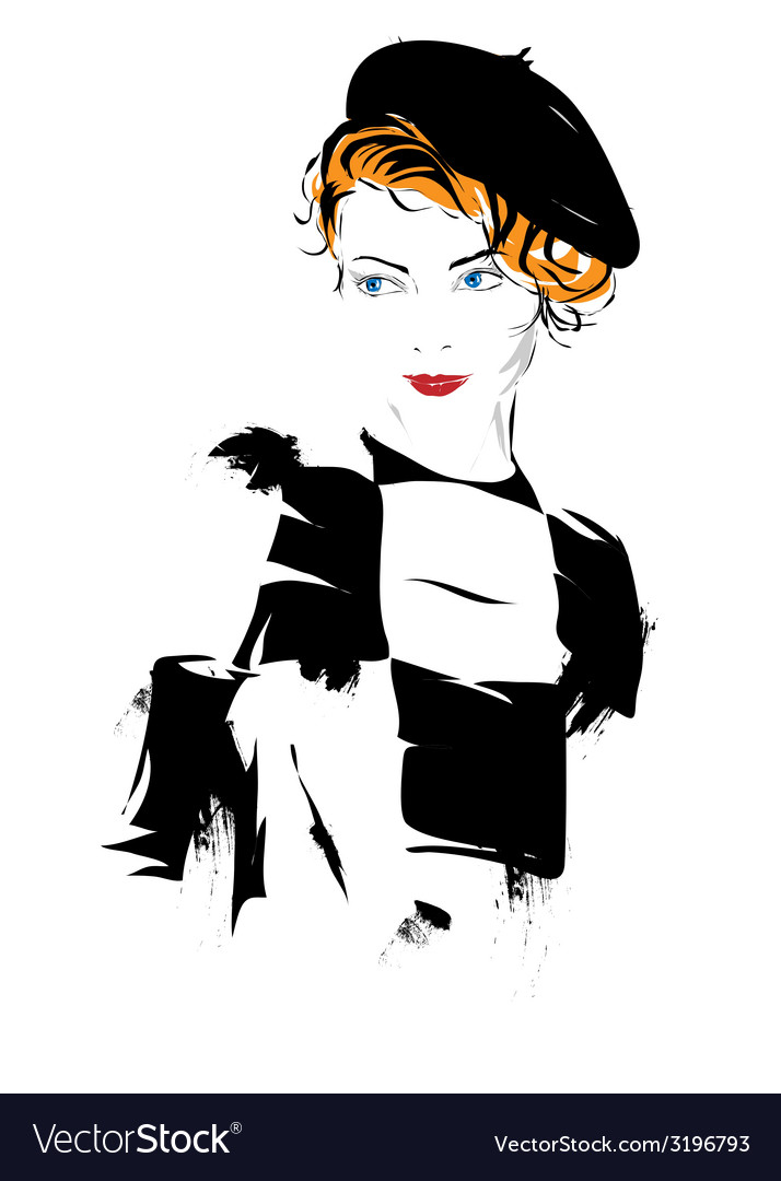 Fashion girl in sketch-style vector | Price: 1 Credit (USD $1)