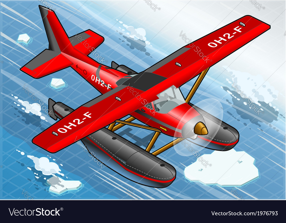 Isometric artic hydroplane in flight in front view vector | Price: 1 Credit (USD $1)