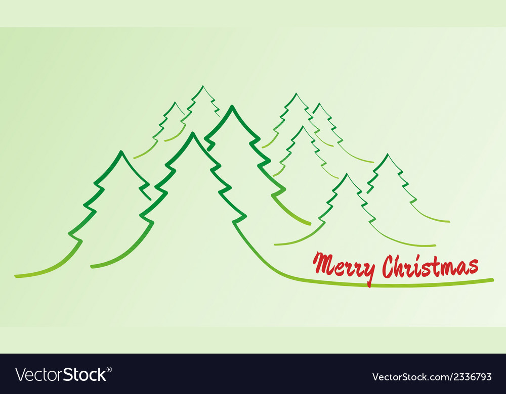 Merry christmas card with trees vector | Price: 1 Credit (USD $1)