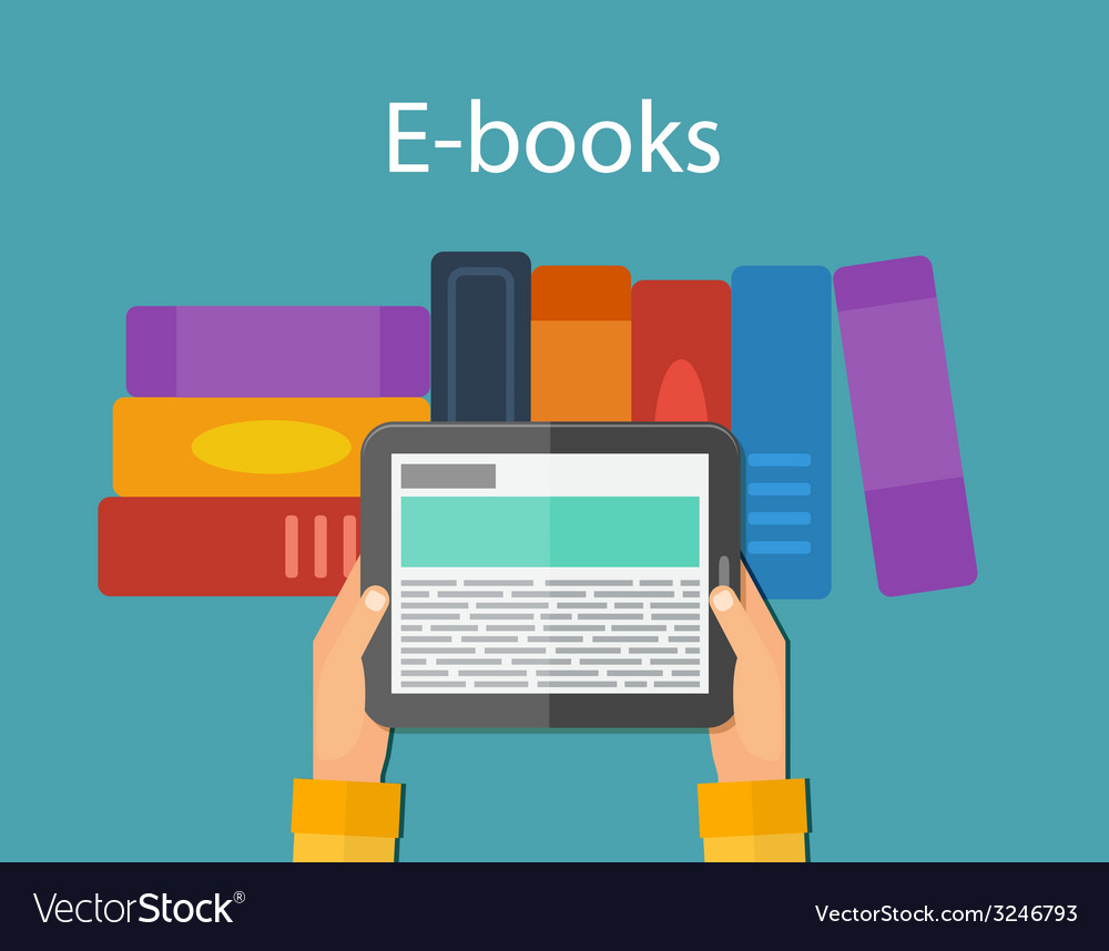 Online reading and ebook mobile devices vector