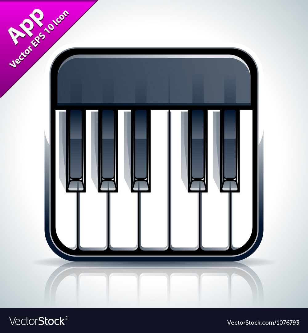 Piano musical app icon vector | Price: 3 Credit (USD $3)