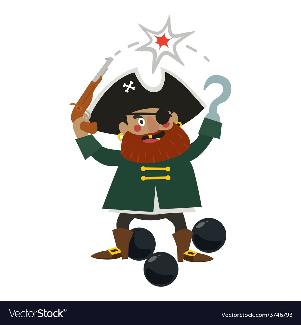 Pirate captain with gun vector | Price: 1 Credit (USD $1)