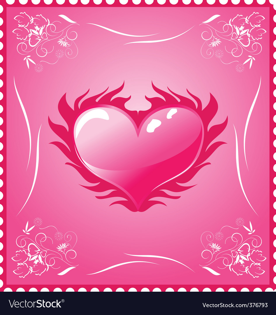 Romantic stamp for valentines day vector | Price: 1 Credit (USD $1)