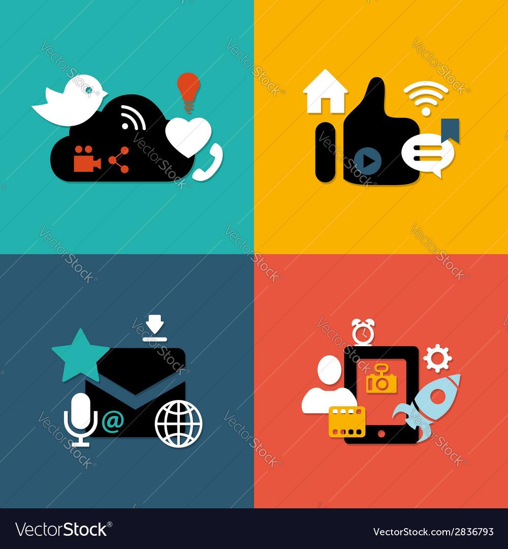 Set of modern flat design social media vector | Price: 1 Credit (USD $1)