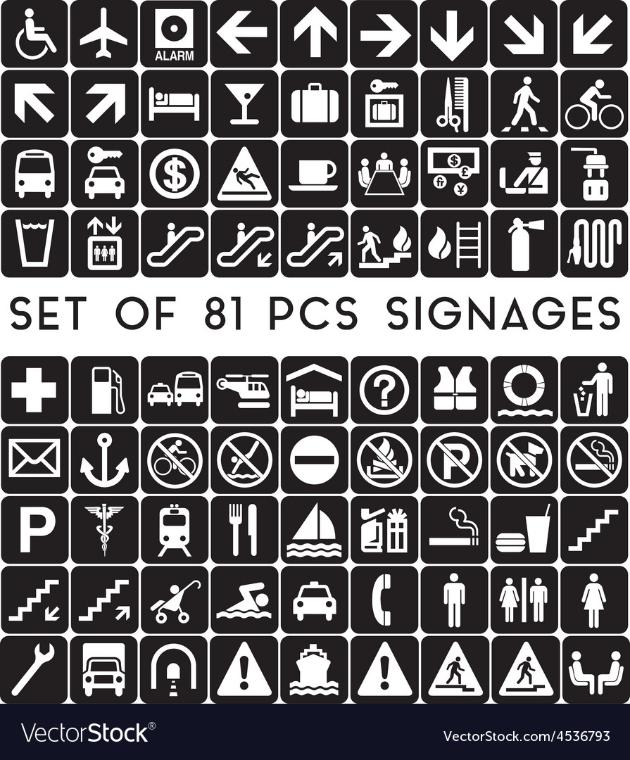 Set-of-81-pcs-signages vector | Price: 1 Credit (USD $1)