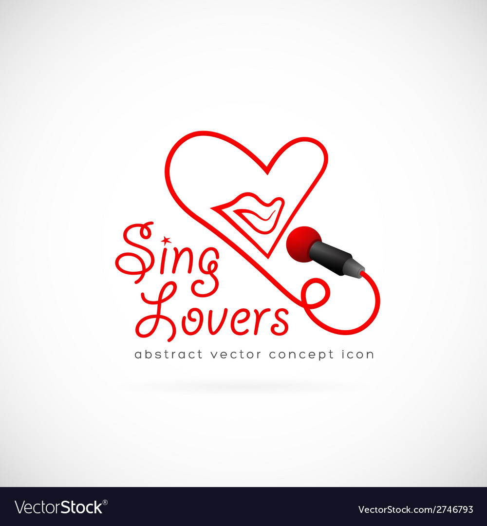 Sing lovers abstract symbol icon vector | Price: 1 Credit (USD $1)