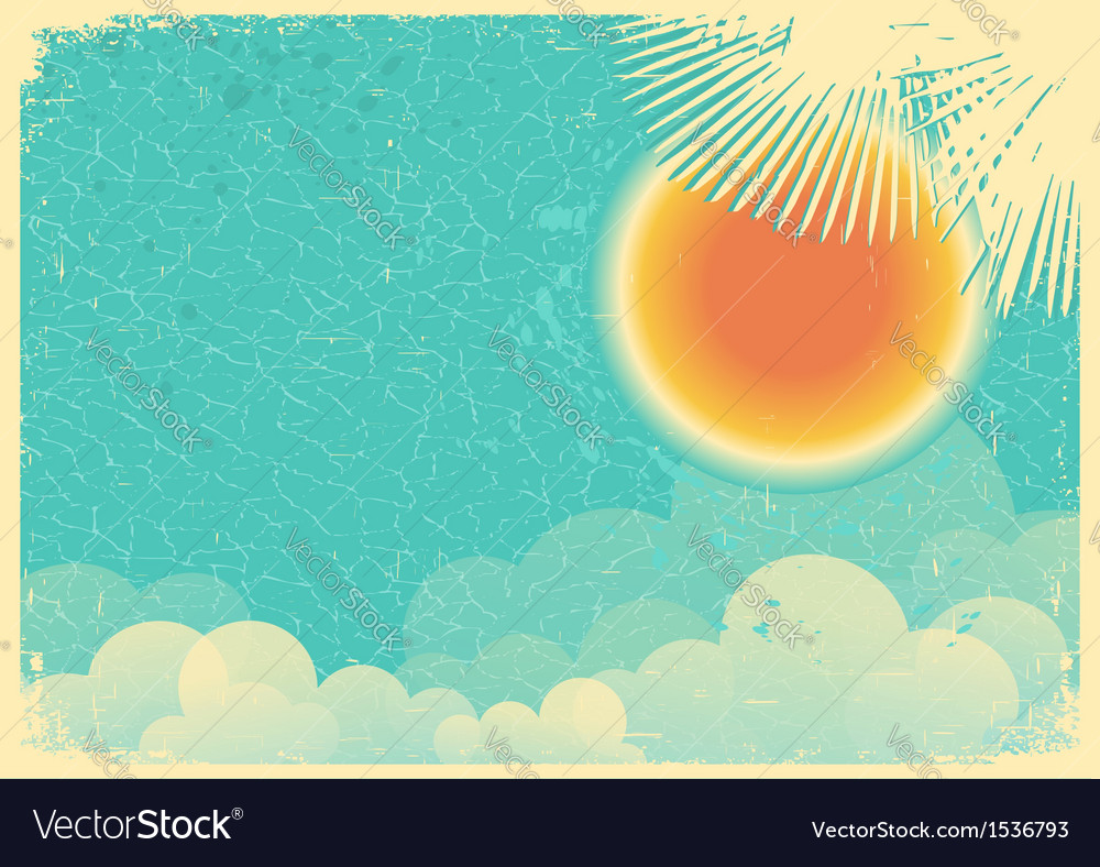 Vintage poster of blue sky and clouds on old paper vector | Price: 1 Credit (USD $1)