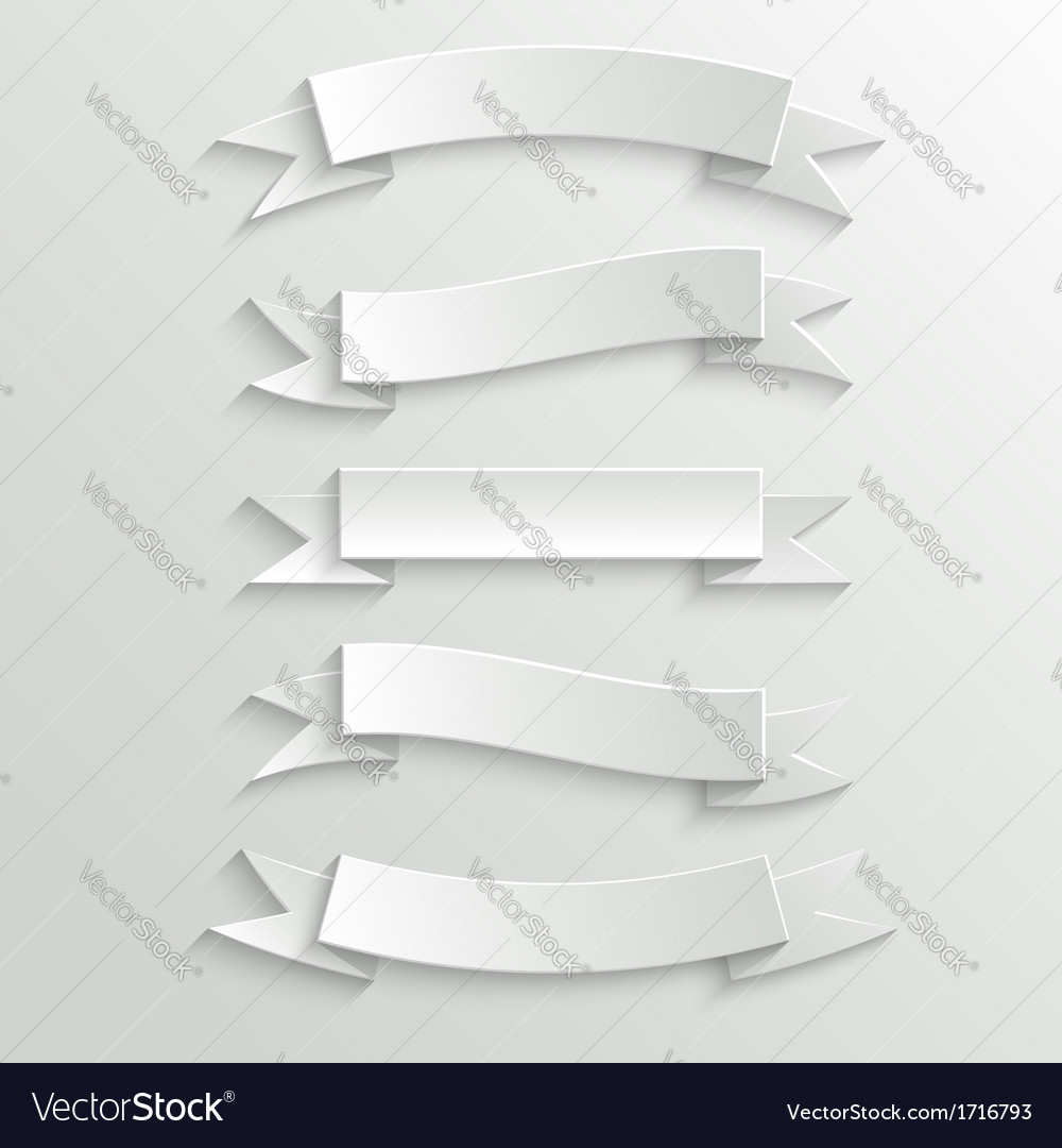 White paper banners and ribbons vector | Price: 1 Credit (USD $1)