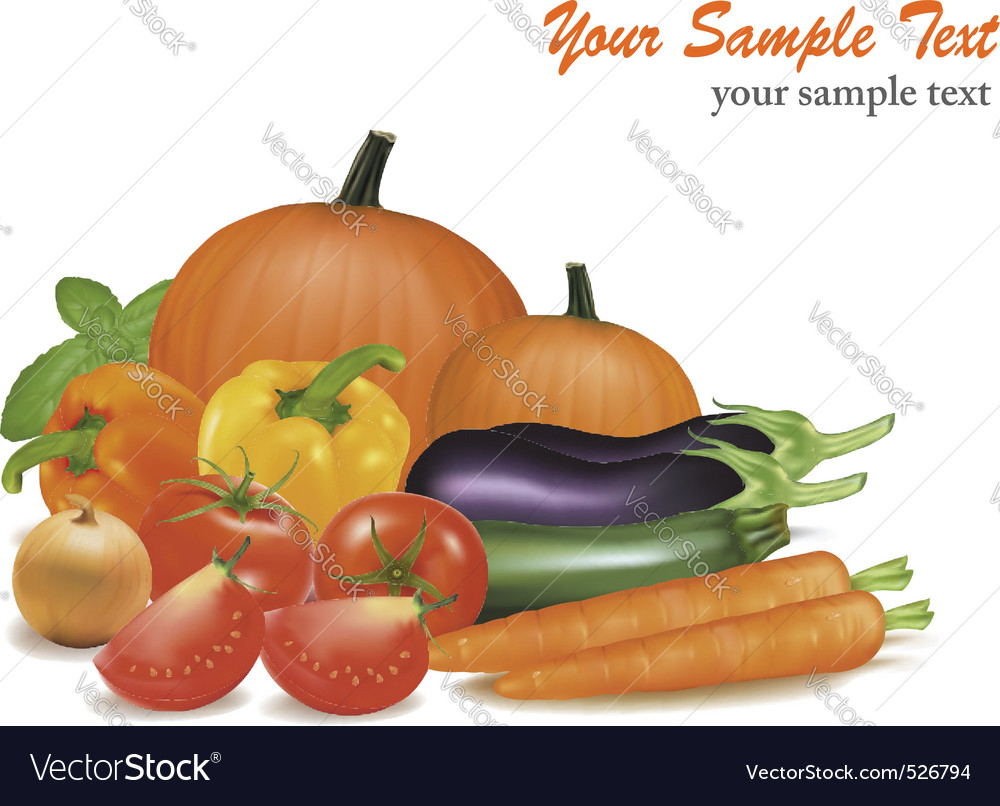 Big colorful vegetables vector | Price: 3 Credit (USD $3)