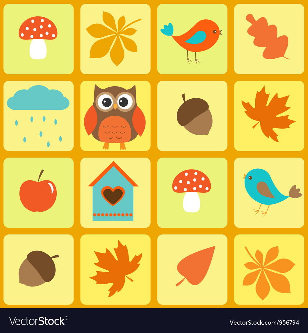 Birdsowl and autumnal leaves vector | Price: 1 Credit (USD $1)