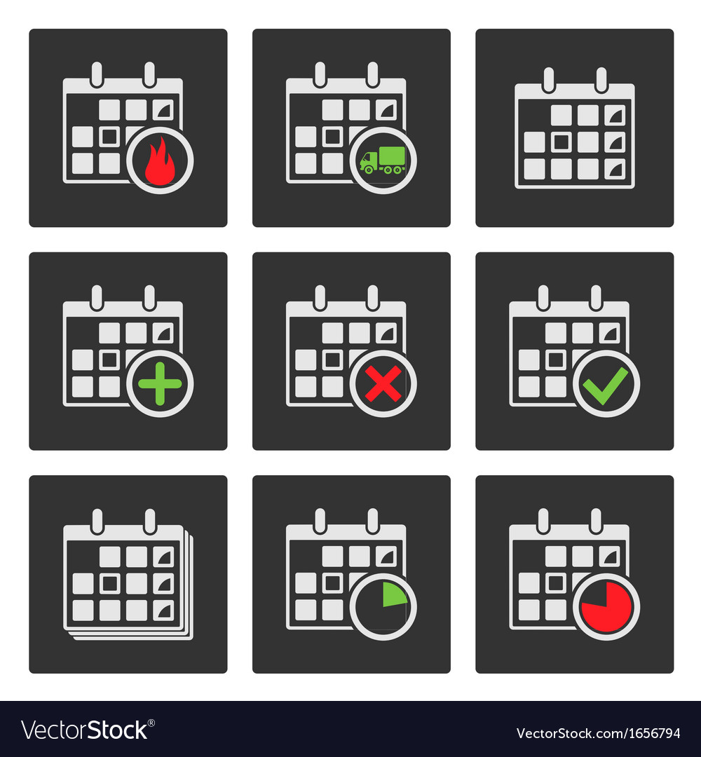 Calendar icons events progress delivery vector | Price: 1 Credit (USD $1)