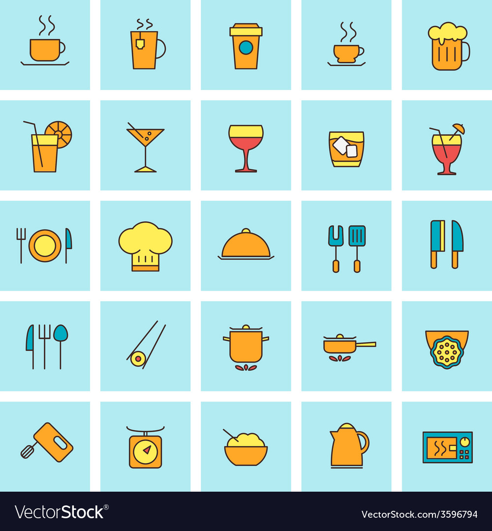 Food and beverages icon set in flat design style vector | Price: 1 Credit (USD $1)