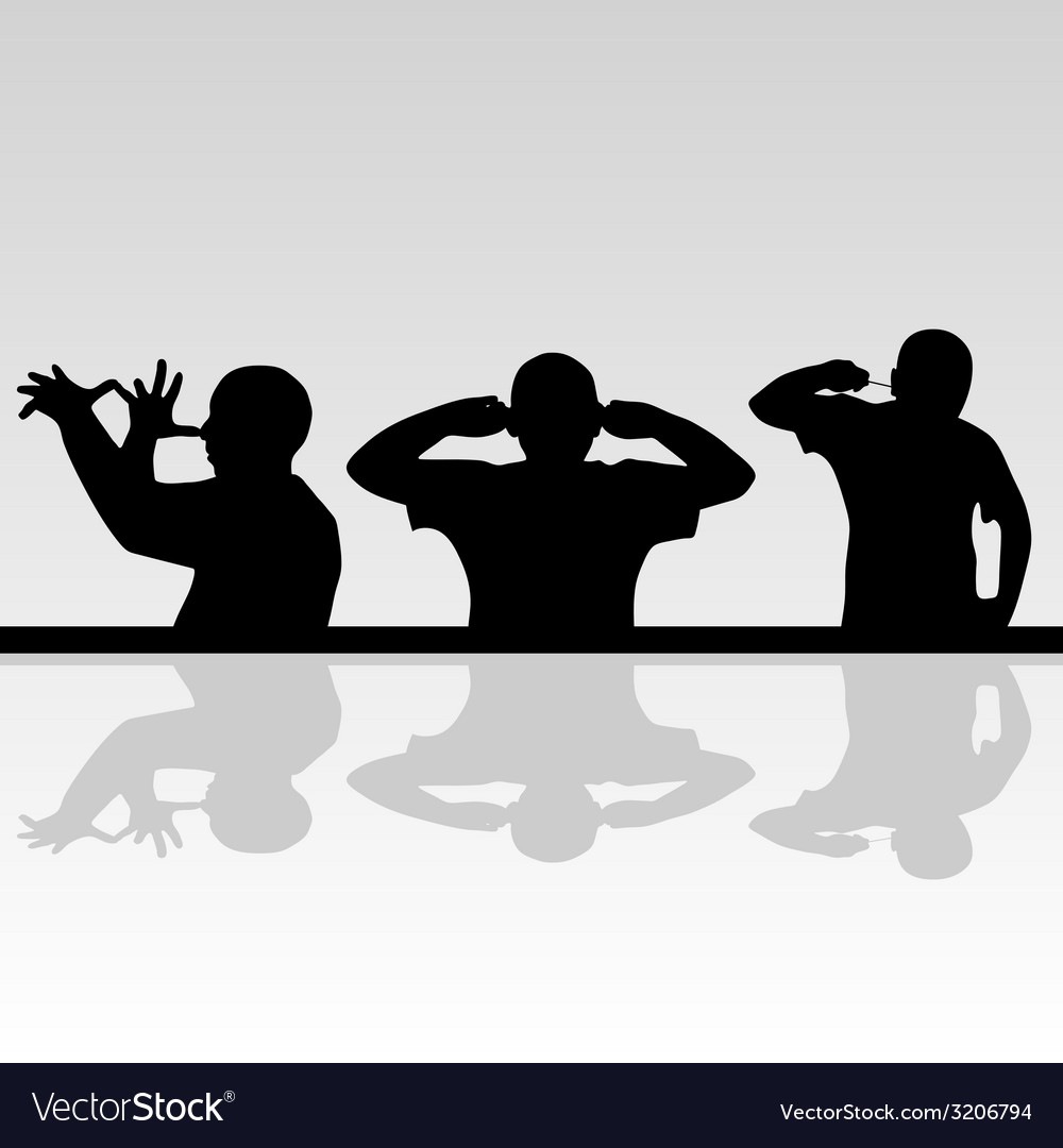 Funny man in various poses silhouette vector | Price: 1 Credit (USD $1)