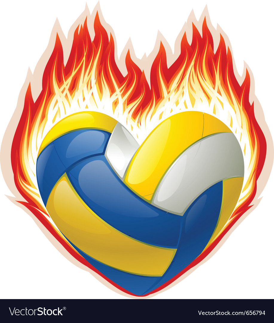 Heart shaped volleyball on fire vector | Price: 1 Credit (USD $1)