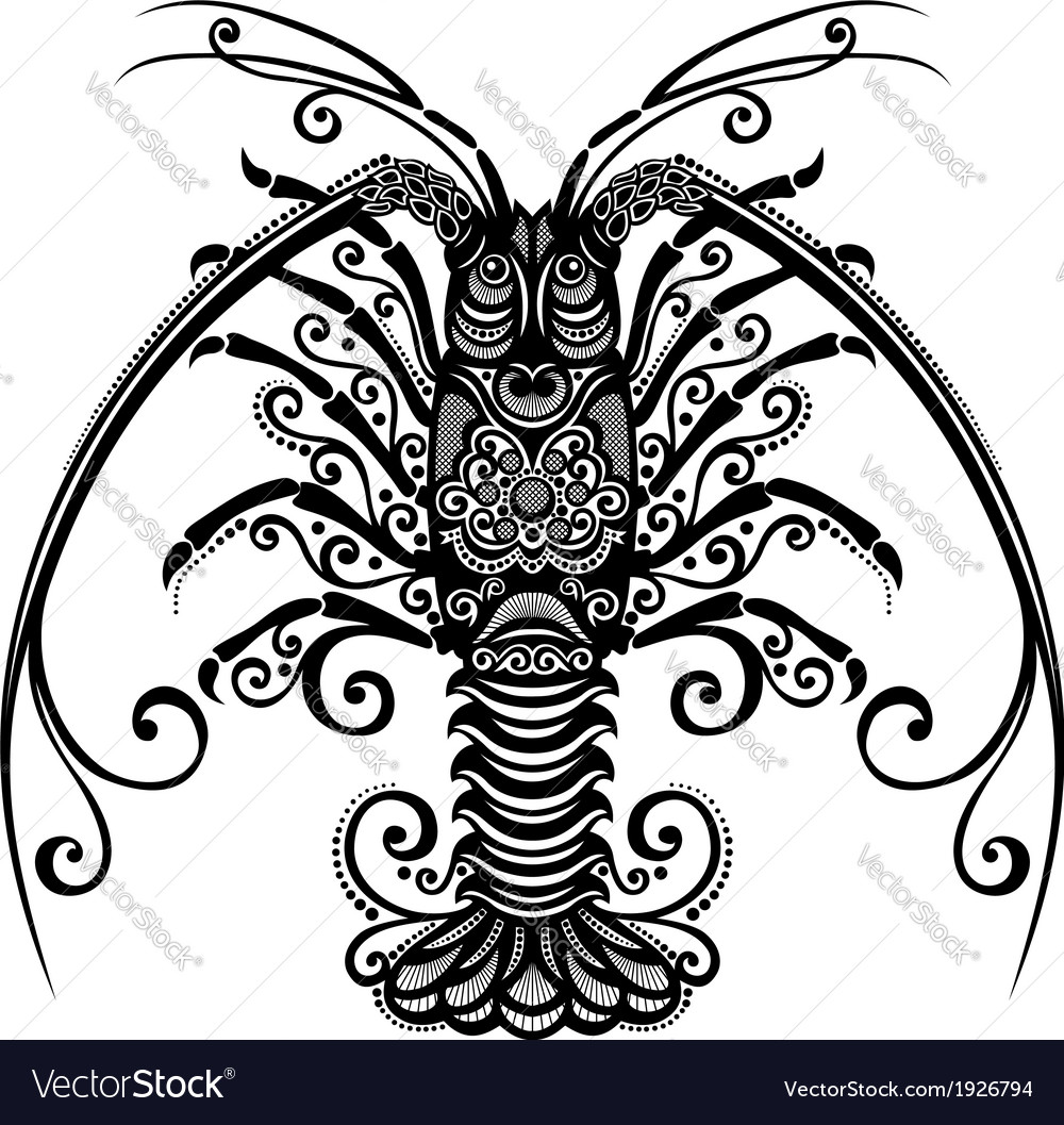 Sea spiny lobster vector | Price: 1 Credit (USD $1)