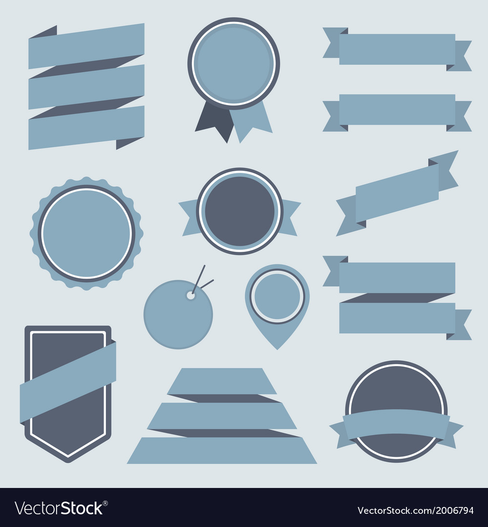 Stickers and badges set 8 flat style vector | Price: 1 Credit (USD $1)