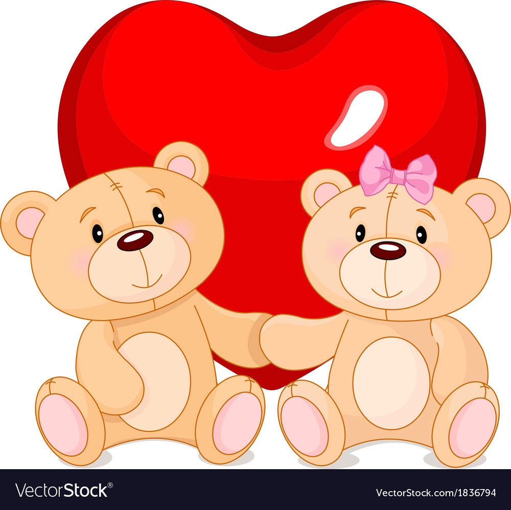Teddy bears in love vector | Price: 1 Credit (USD $1)