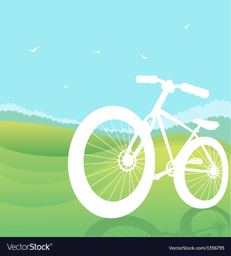 Bicycle silhouette summer landscape vector | Price: 1 Credit (USD $1)