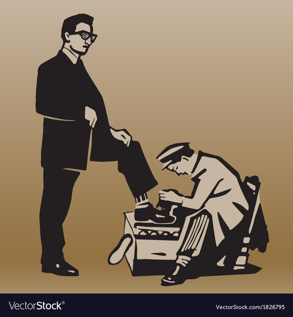 Boy cleans shoes to respectable man vector | Price: 1 Credit (USD $1)