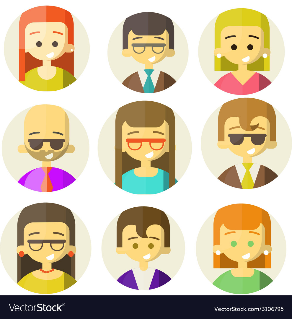 Colorful people faces circle icons set vector   Price: 1 Credit (USD $1)