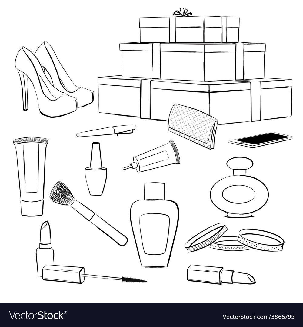 Fashion accessories and makeup set vector | Price: 1 Credit (USD $1)