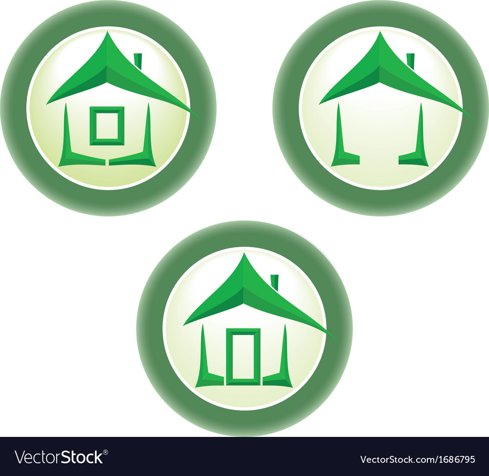 Green home icon vector | Price: 1 Credit (USD $1)