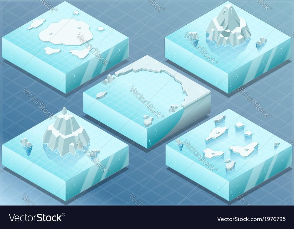 Isometric arctic sea with iceberg vector | Price: 1 Credit (USD $1)