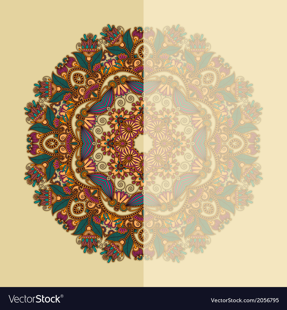 Ornate card with circle ornamental floral pattern vector | Price: 1 Credit (USD $1)