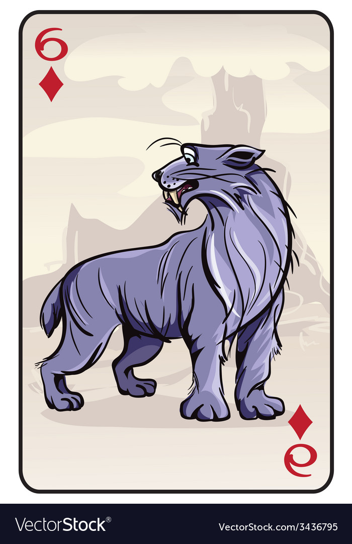 Six of diamonds playing card with a lynx vector | Price: 3 Credit (USD $3)