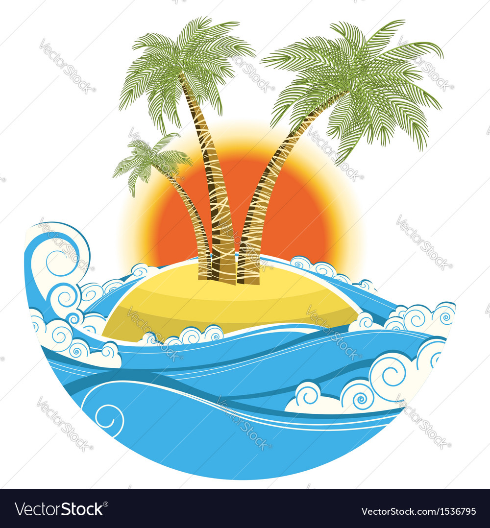 Tropical island symbol seascape with sun isolated vector | Price: 1 Credit (USD $1)