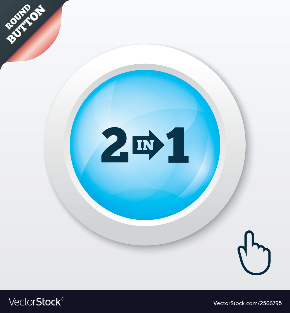 Two in one sign icon 2 in 1 symbol with arrow vector | Price: 1 Credit (USD $1)
