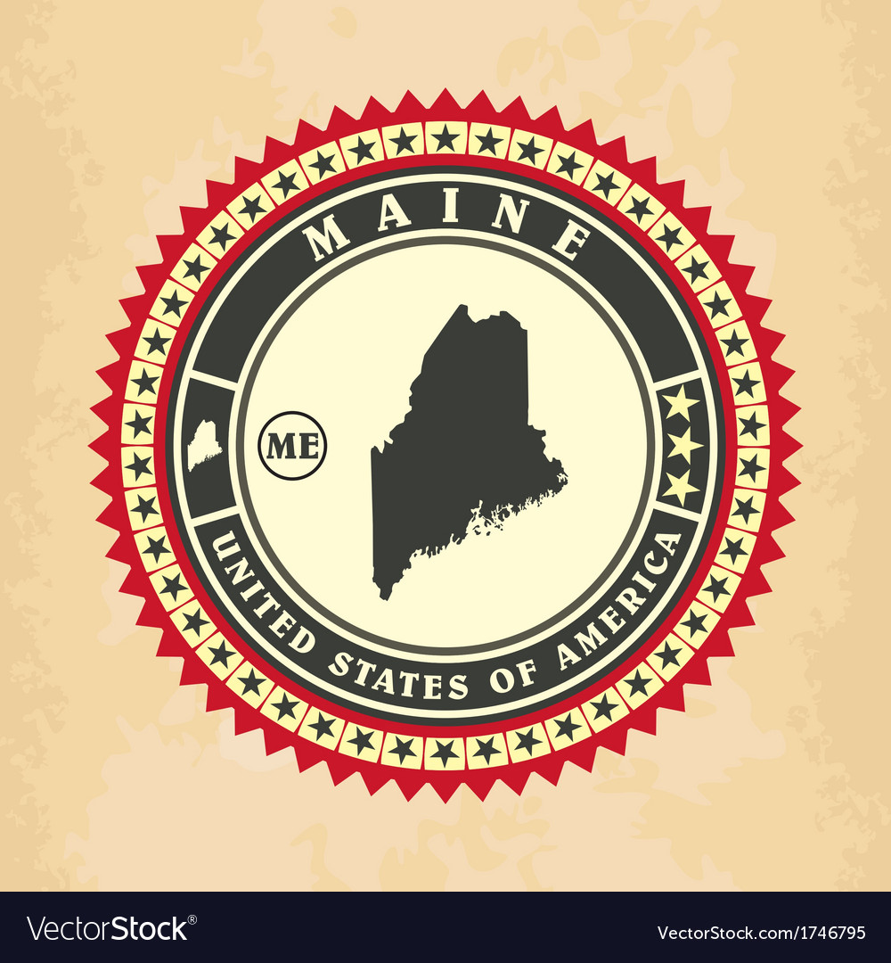 Vintage label-sticker cards of maine vector | Price: 1 Credit (USD $1)