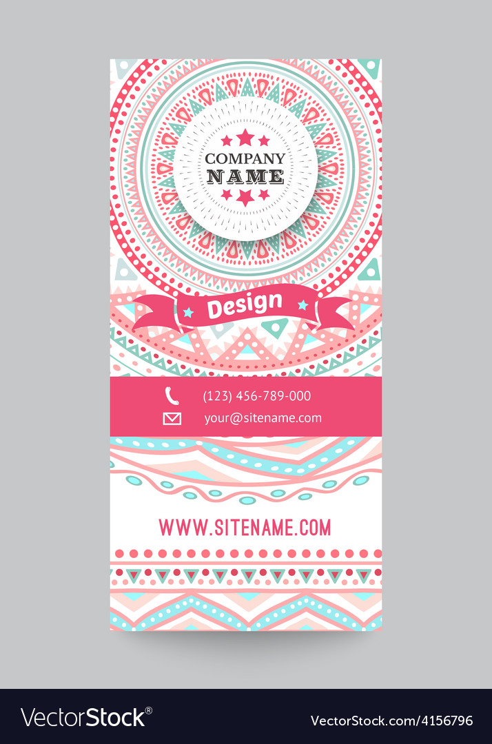 Corporate identity template with doodles tribal vector