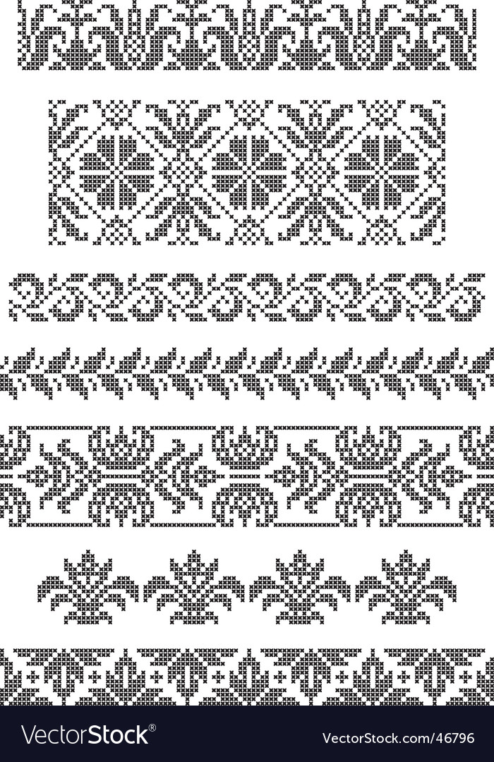 Embroidery borders vector | Price: 1 Credit (USD $1)