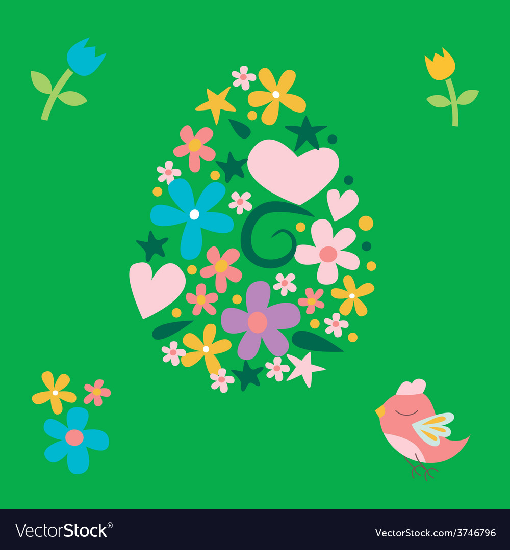 Floral easter post card with bird vector | Price: 1 Credit (USD $1)