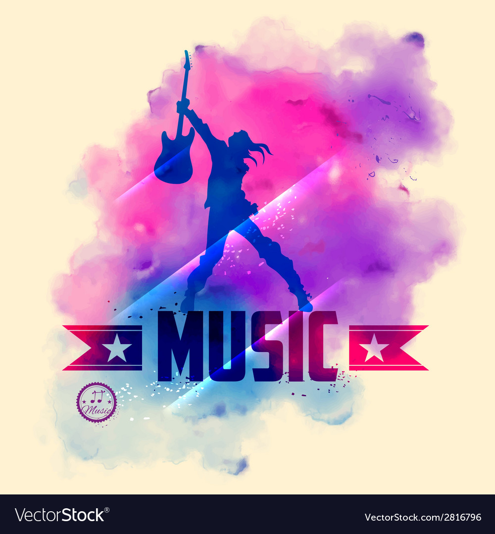 Rock star with guitar for musical background vector | Price: 1 Credit (USD $1)