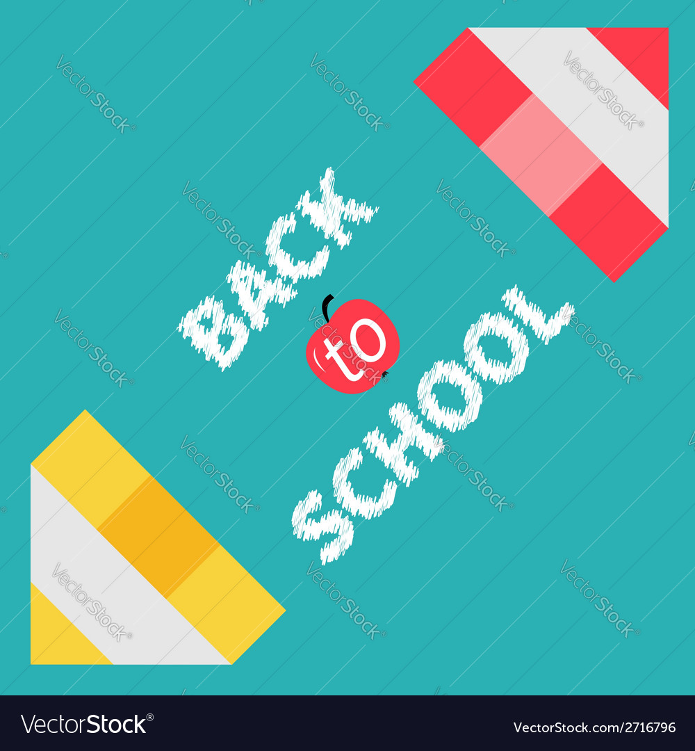 Two pencils frame back to school card flat design vector | Price: 1 Credit (USD $1)