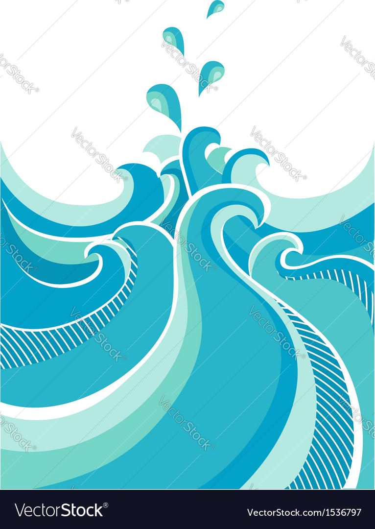 Abstract water waves isolated on white vector | Price: 1 Credit (USD $1)