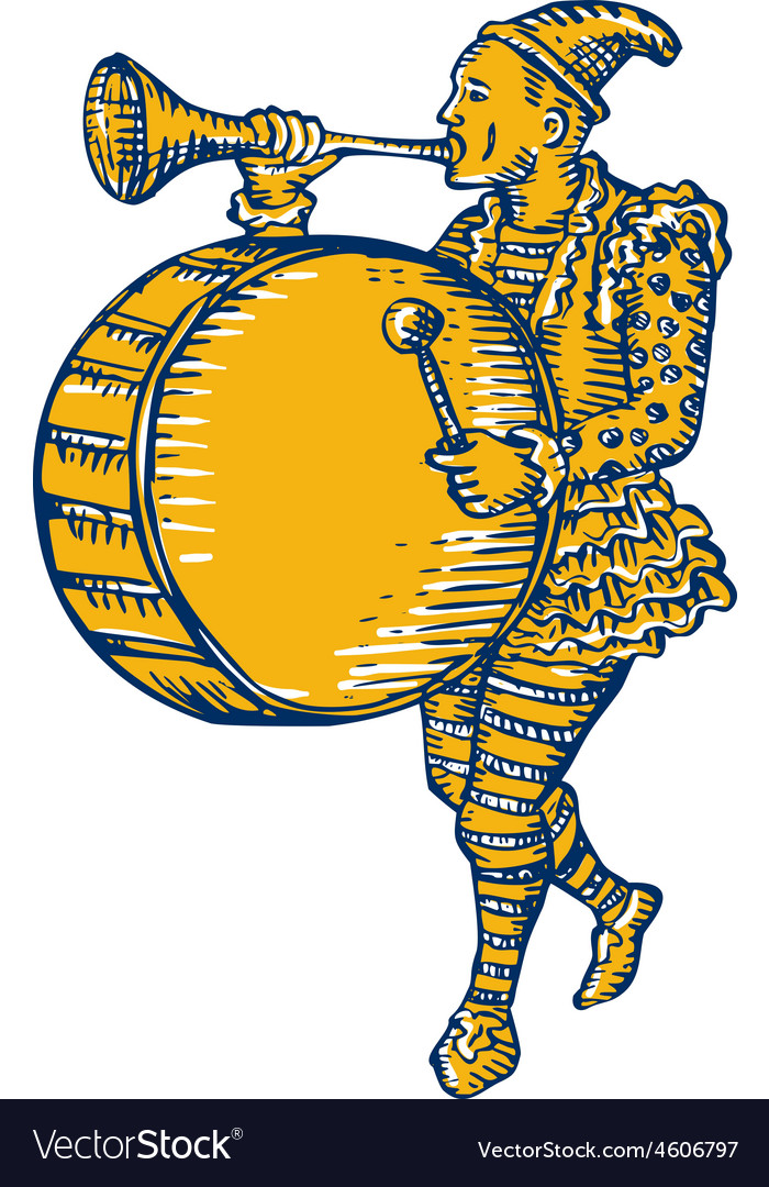 Clown with trumpet and drum marching etching vector   Price: 1 Credit (USD $1)
