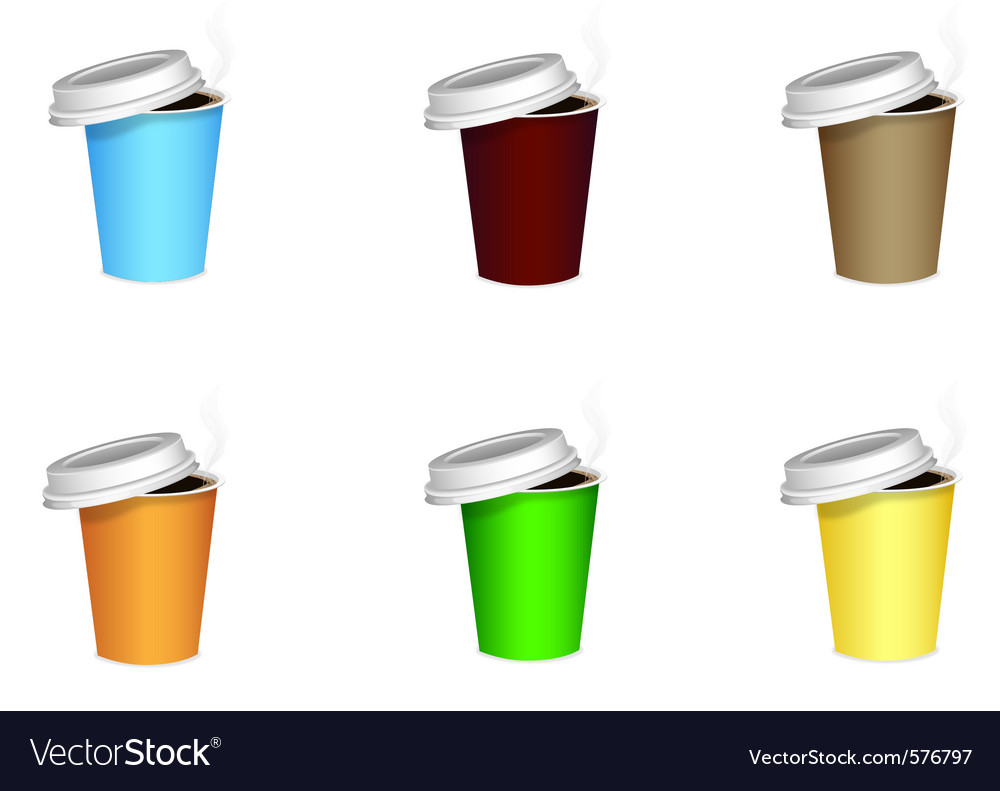 Colored coffee cups vector | Price: 1 Credit (USD $1)