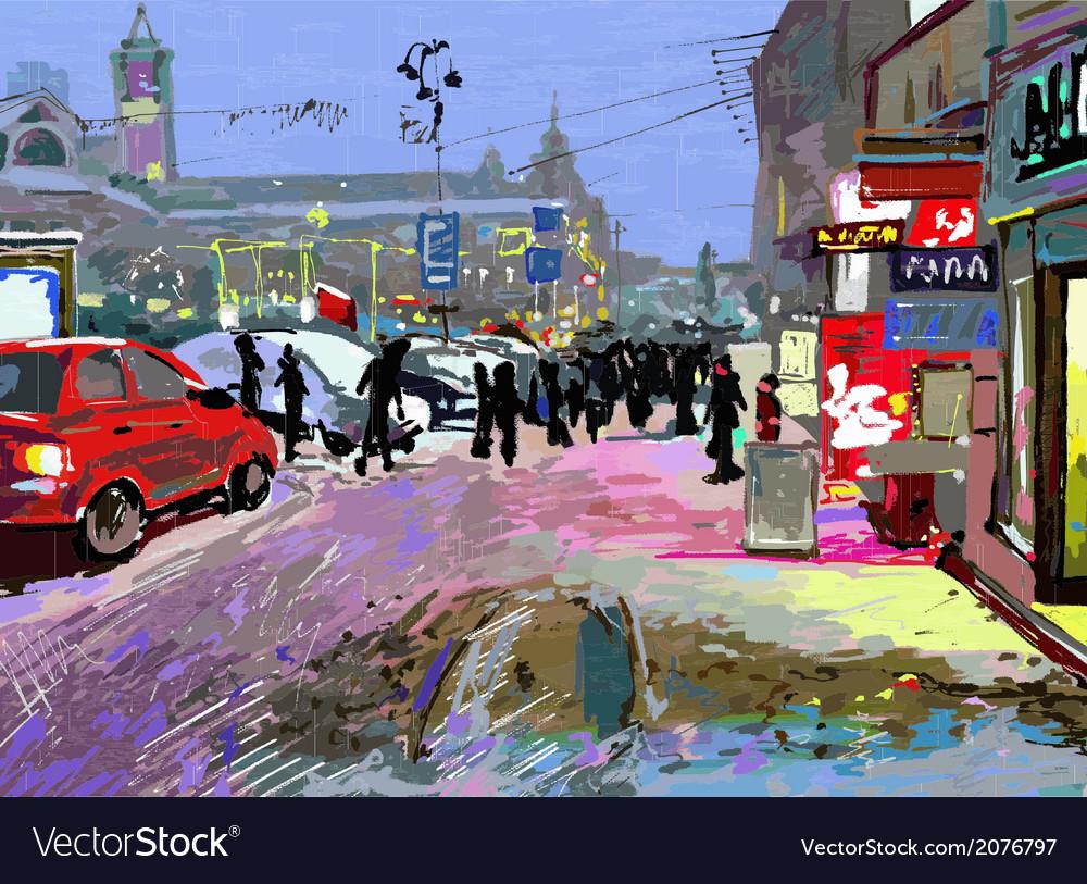 Digital art painting of evening winter city landsc vector | Price: 1 Credit (USD $1)