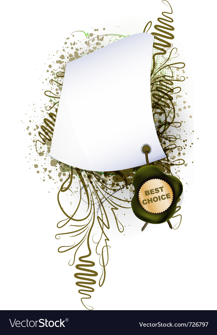 Parchment with the seal on plant background vector | Price: 1 Credit (USD $1)