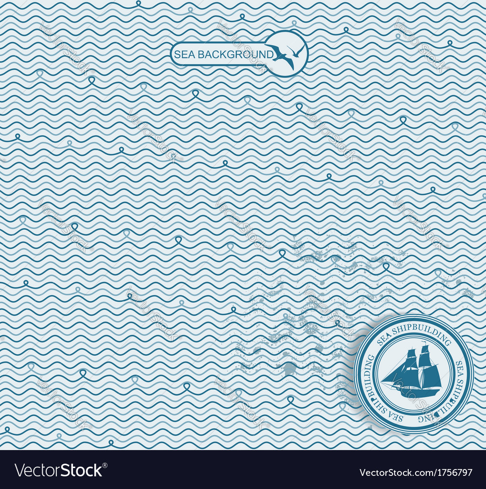 Sea wave hand-drawn pattern vector | Price: 1 Credit (USD $1)