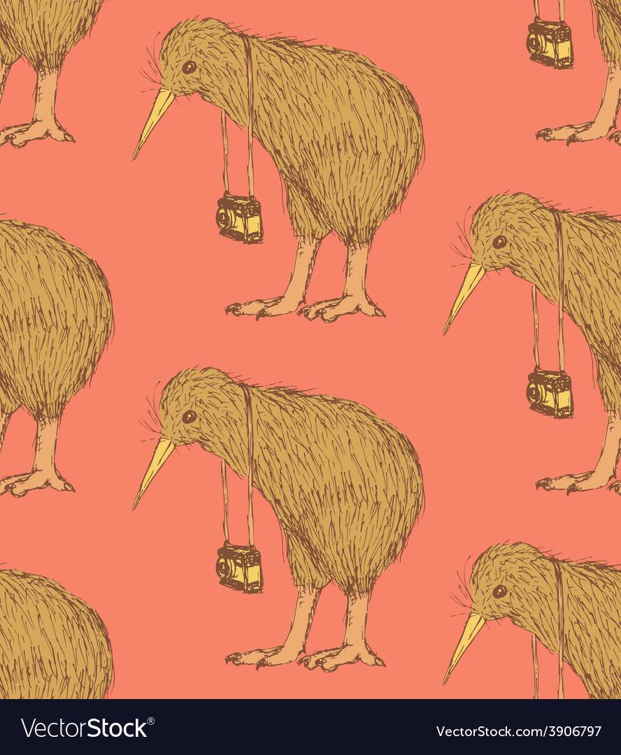 Sketch fancy kiwi bird in vintage style vector | Price: 1 Credit (USD $1)