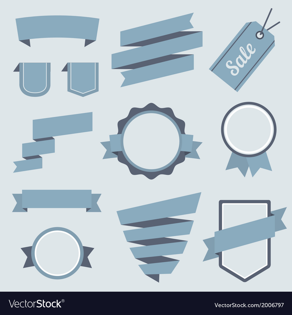 Stickers and badges set 9 flat style vector | Price: 1 Credit (USD $1)