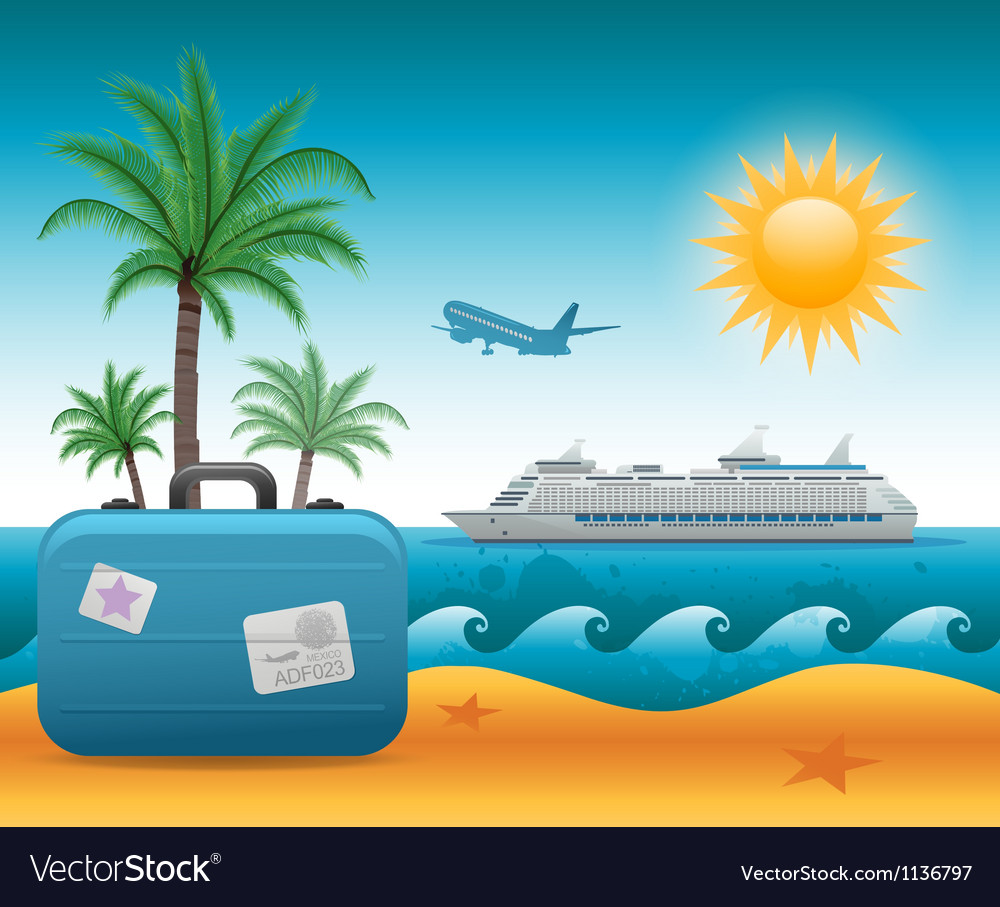 Summer beach vacation background vector | Price: 3 Credit (USD $3)