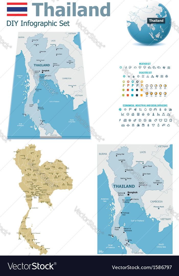 Thailand maps with markers vector | Price: 1 Credit (USD $1)
